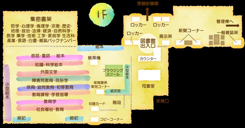 埼玉純真短期大学・図書館/1Fフロアマップ